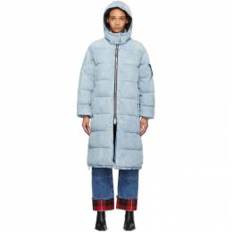 Alexander Wang Blue Bleached Denim Long Puffer Jacket 4DC1202628