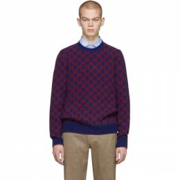 Gucci Blue and Red Wool Sweater 597723 XKA4R
