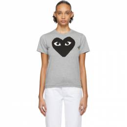 Comme des Garcons Play Grey and Black Big Heart T-Shirt P1T083