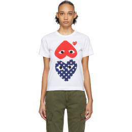 Comme des Garcons Play White and Red Polka Dot Upside Down Heart T-Shirt P1T239