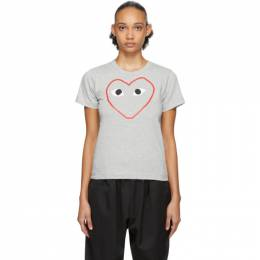 Comme des Garcons Play Grey Outline Heart T-Shirt P1T265