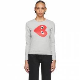Comme des Garcons Play Grey Sideways Heart Long Sleeve T-Shirt P1T267