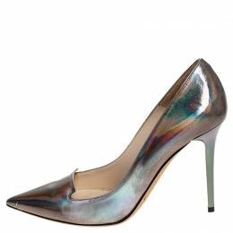 Jimmy Choo Silver Holographic Leather Avril Pointed Toe Pumps Size 35 251603