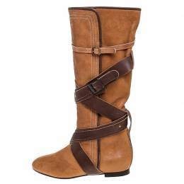 Chloe Brown Leather Cross Strap Knee Length Boots Size 38.5 249837