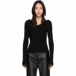 Bottega Veneta Black Boucle Draped Sweater 611345 VKJG0