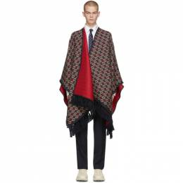 Gucci Navy and Red Wool Poncho 598190 4G184