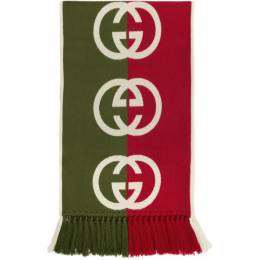 Gucci Green and Red Wool Logo Scarf 575606 4G184