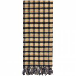 Gucci Navy and Yellow Wool Check GG Scarf 597527 4G200