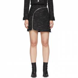 Alexander Wang Black and White Tweed Zipper Miniskirt 1WC1205148