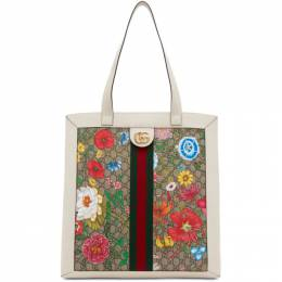 Gucci White and Multicolor GG Ophidia Flora Tote 519335 HWHBC