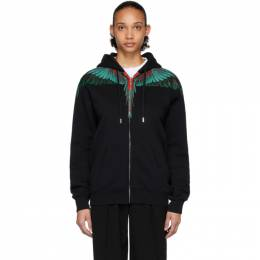 Marcelo Burlon County Of Milan Black and Green Wings Zipped Hoodie CMBE001R20FLE0021055