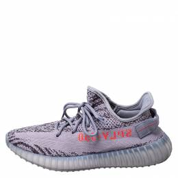 Yeezy X Adidas Grey/Black Cotton Knit Boost 350 V2 Sneakers Size 42 249871