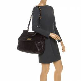 Dolce and Gabbana Dark Brown Leather Top Handle Miss Sicily Bag 251532