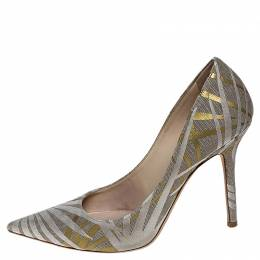 Jimmy Choo Grey/Gold Canvas Romy Pointed Toe Pumps 39.5 251542