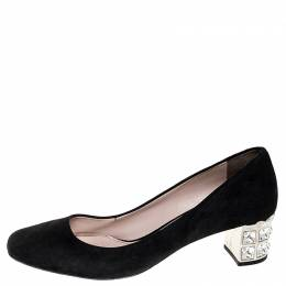 Miu Miu Black Suede Crystal Heel Pumps Size 38 251731