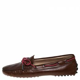 Tod's Brown Leather Gommino Driving Loafers Size 38 251601