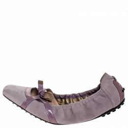 Tod's Lilac Suede And Patent Leather Bow Scrunch Ballet Flats Size 38 Tod's 251863