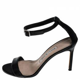 Manolo Blahnik Black Leather Chaos Ankle Strap Sandals Size 36 251545
