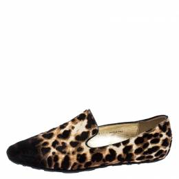 Jimmy Choo Brown Ombre Leopard Print Calfhair Wheel Smoking Slippers Size 36 251818