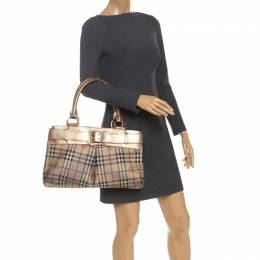 Burberry Beige/Gold Haymarket Check Coated Canvas and Leather Bridle Tote 251766