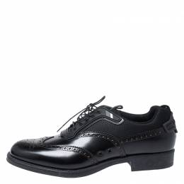 Prada Black Brogue Leather and Mesh Lace Up Derby Sneakers Size 44 251713
