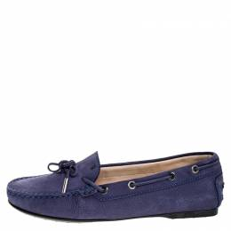 Tod's Purple Nububk Leather Bow Gommino Loafers Size 38.5 251634