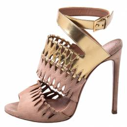Alaia Beige Suede And Metallic Gold Leather Cut Out Open Toe Ankle Strap Sandals Size 39 250929