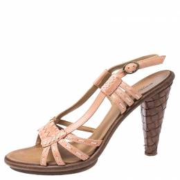 Bottega Veneta Pink Woven Leather Open Toe Strappy Sandals Size 36.5 251851