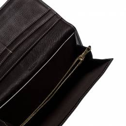 Bally Brown Canvas Damata Long Flap Wallet 252277