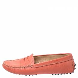Tod's Coral Orange Leather Penny Loafers Size 36.5 252036