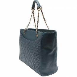 Tory Burch Blue Quilted Stitch Leather Tote Bag