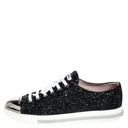 Miu Miu Black Glitter And Metal Cap Toe Low Top Sneakers Size 39 251649