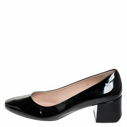 Tod's Black Patent Leather Block Heel Pumps Size 39 Tod's