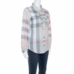 Burberry	 Pale Grey Plaid Checked Cotton Ruffle Detail Shirt S