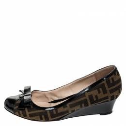 Fendi Black/Brown Zucca Canvas and Leather Bow Wedge Pumps Size 40 252054