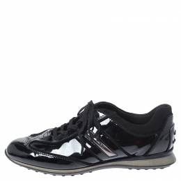 Tod's Black Patent Leather and Suede Lace Low Top Sneakers Size 37.5 250983