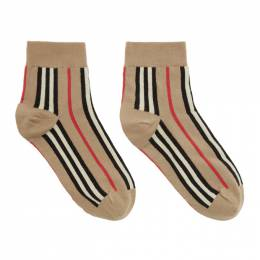 Burberry	 Beige Vertical Stripe Socks 8012554