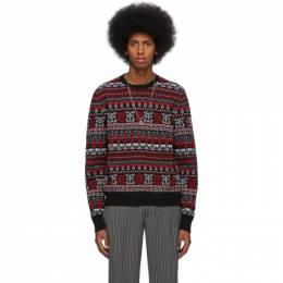 Alexander McQueen	 Black and Red Wool Jacquard Sweater 603250Q1ALT