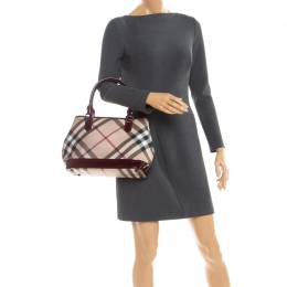 Burberry Maroon Patent Leather and Nova Check Canvas Tote 251833