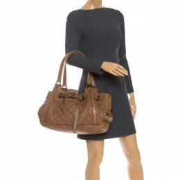 Burberry Tan Quilted Leather XL Healy Tote 252163