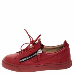 Giuseppe Zanotti Red Leather Double Zip Low Top Sneakers Size 38.5 252567
