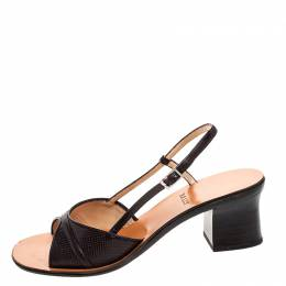 Bally Brown Embossed Leather Slingback Block Heel Sandals Size 38 251057