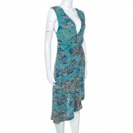 Zadig & Voltaire Green Printed Knit Sleeveless Root Dress S 251278
