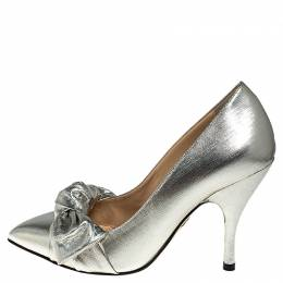 Charlotte Olympia Metallic Lame Fabric Bow Pointed Toe Pumps Size 38 251272