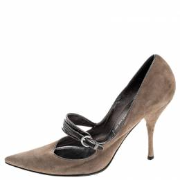 Casadei Dark Beige Suede Strap Pointed Toe Pumps Size 37.5 251241