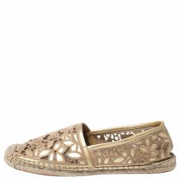 Tory Burch Metallic Gold Embroidered Leather And Mesh Rhea Leaf Espadrille Flats Size 39 252475