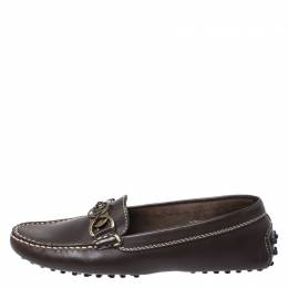 Tod's Dark Brown Ring Leather Loafers Size 37.5 251103