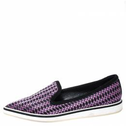 Nicholas Kirkwood Black/Purple Embroidered Satin And Suede Trim Alona Pointed Toe Loafers Size 38