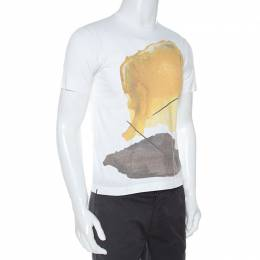 Hermes White Abstract Print Cotton T-Shirt XS