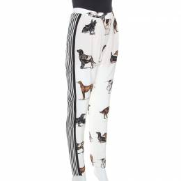 Stella Mccartney	 White Striped Dog Print Silk Christine Pants S 253167